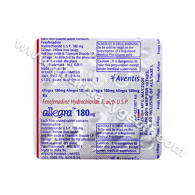 Allegra (Fexofenadine HCL) - 180mg (10 Tablets)